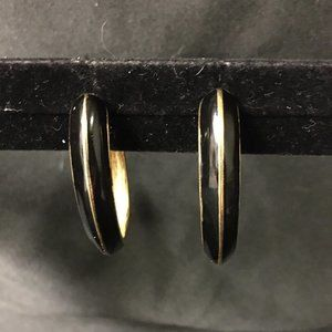 Vintage Black and Gold Trifari Half Hoop Earrings